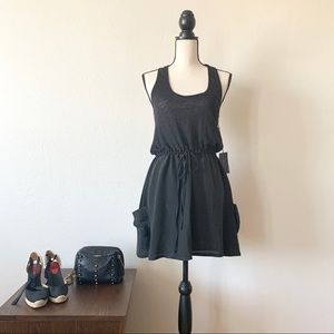PATTERSON KINCAID Silk & Linen Racerback Dress